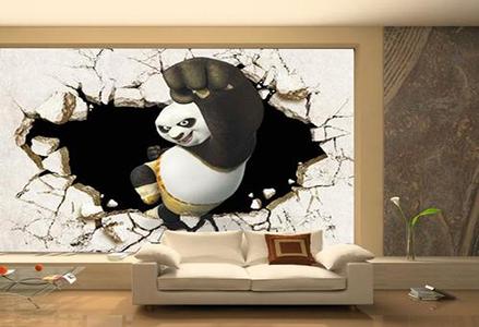 蓝图UV机 熊猫客厅背景墙