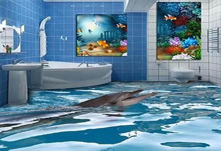 蓝图UV机 海豚3D背景墙